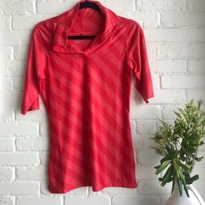 Nike golf sport beautiful pink & red stripe polo S